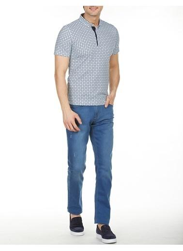 Bisse BTS18Y18307 Slim Fit Desenli Düğmeli Yaka T-Shirt Mavi